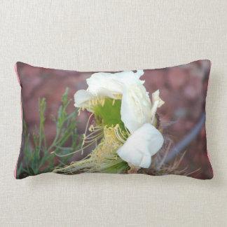White Cactus Bloom Lumbar Pillow