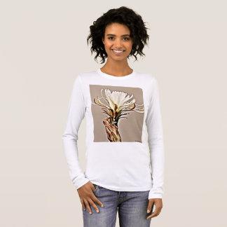 White Cactus Bloom on Tan Women's Long Sleeve Tee