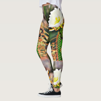White Cactus Bloom Women's Leggings