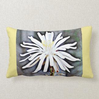 White Cactus Flower Accent Lumbar Pillow