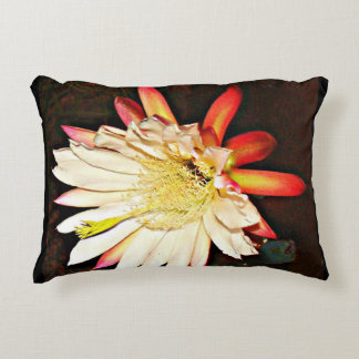 White Cactus Flower Accent Pillow