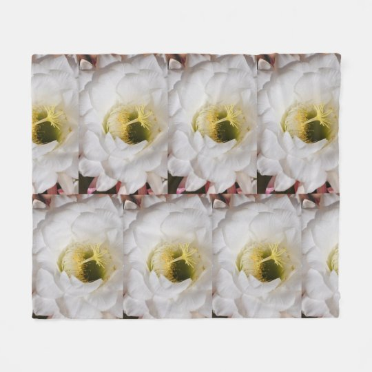 White Cactus Flower Fleece Blanket