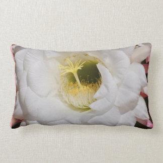 White Cactus Flower Lumbar Pillow