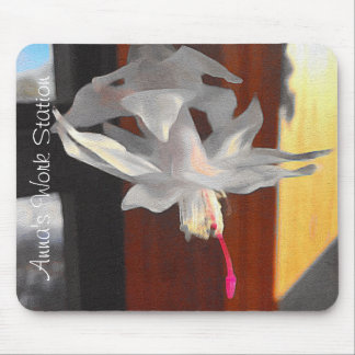 White Cactus Flower Mouse Pad