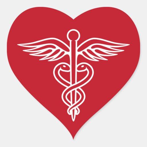 White caduceus logo on red doctor nurse sticker | Zazzle Nursing Symbol Design