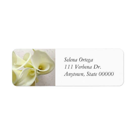 White calla lilies from above return address label