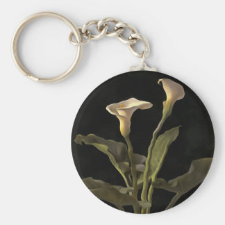 White Calla Lilies On A Black Background Basic Round Button Key Ring