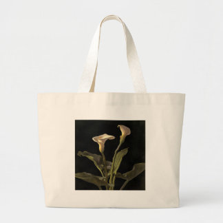 White Calla Lilies On A Black Background Jumbo Tote Bag