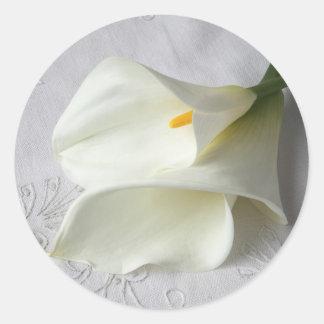 white calla lilies on decorative cloth stickers
