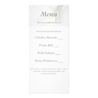 white calla lilies on linen wedding menu card