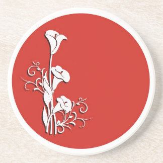 White calla lilies on red Coaster