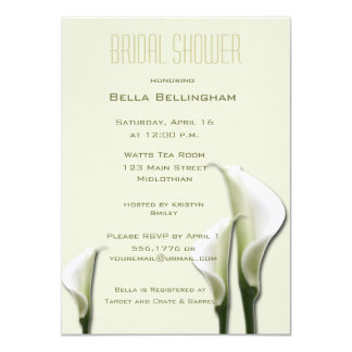 White Calla Lillies Bridal Shower Invitation