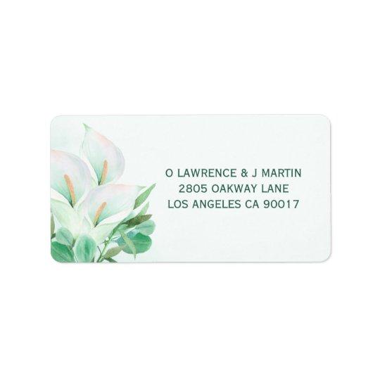 White Calla Lilly Elegant Watercolor Label