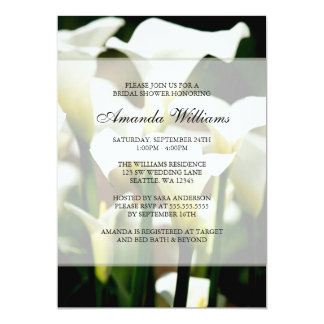 White Calla Lily Bridal Shower Invitations