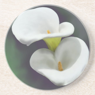 White Calla Lily Flowers Beverage Coasters