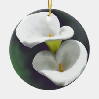White Calla Lily Flowers Round Ceramic Decoration