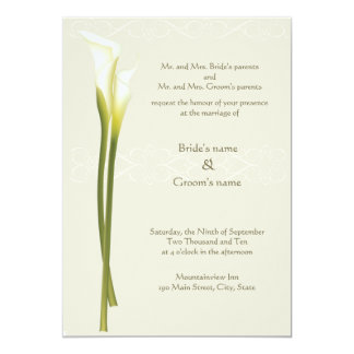 White Calla Lily Wedding Invitation