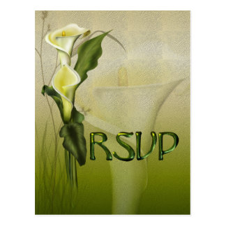 White Calla Wedding RSVP Postcard