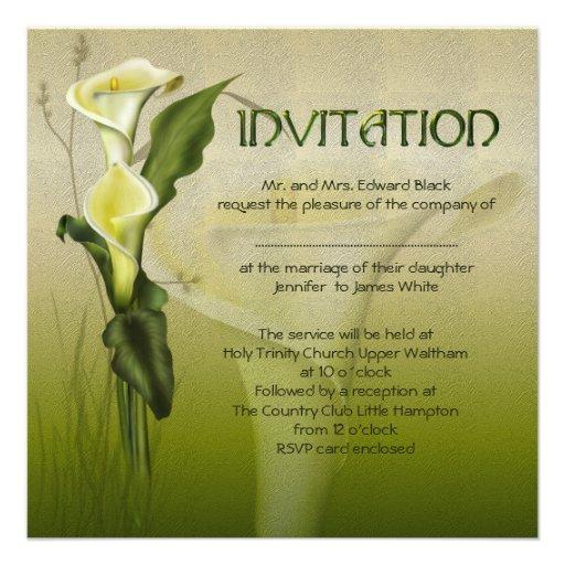 White Calla Wedding Suite Invite