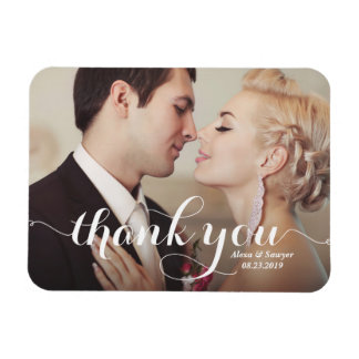 White Calligraphy Script Wedding Thank You Photo Magnet