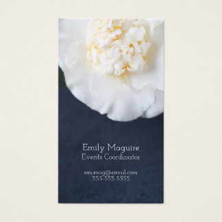White camellia flower with room for text business card