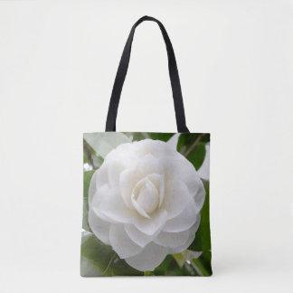 White Camellia Watercolor Fine Floral Tote Bag