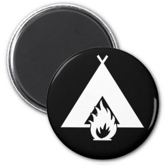 White Campfire and Tent Symbol for Dark Background 6 Cm Round Magnet