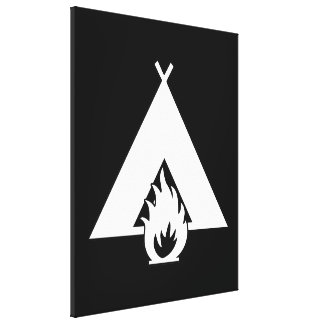 White Campfire and Tent Symbol for Dark Background Gallery Wrapped Canvas