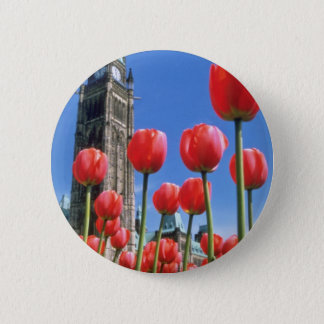 White Canadian Tulip Festival, Peace Tower with tu 6 Cm Round Badge