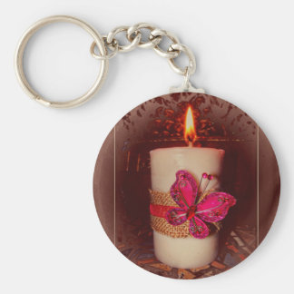 White Candle and Pine Cones Basic Round Button Keychain