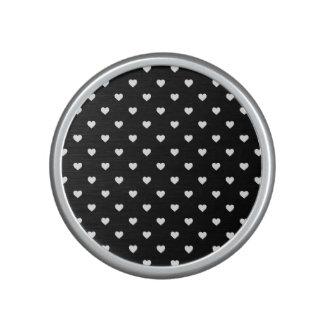 White Candy Polkadot Hearts on Black Bluetooth Speaker