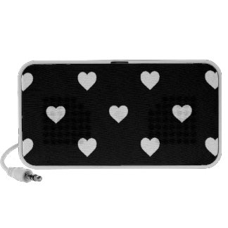 White Candy Polkadot Hearts on Black Speakers