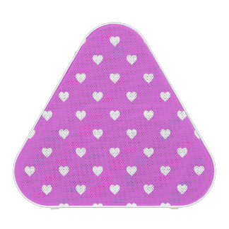 White Candy Polkadot Hearts on Lilac Bluetooth Speaker