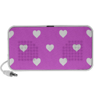 White Candy Polkadot Hearts on Lilac Mp3 Speakers