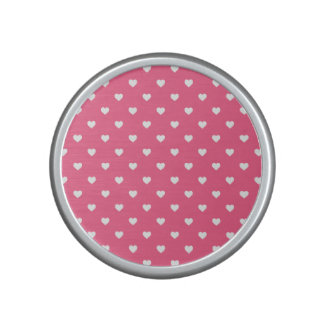 White Candy Polkadot Hearts on Midi Pink Speaker