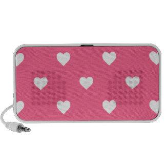 White Candy Polkadot Hearts on Midi Pink iPhone Speaker