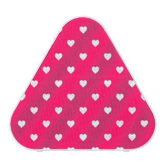 White Candy Polkadot Hearts on Rose Pink Speaker