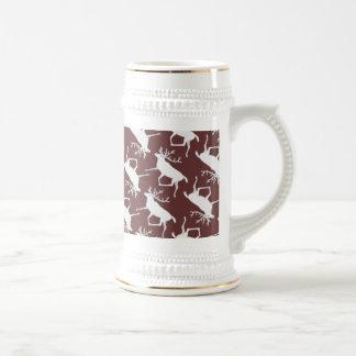 White Caribou Reindeer Christmas Holiday Pattern Mugs