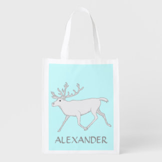 White Caribou Reindeer Personalized Eco Friendly Grocery Bags