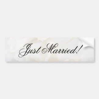 White Carnation Floral Just Married Bumper Sticker