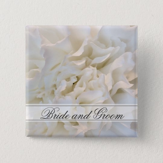 White Carnation Floral Wedding 15 Cm Square Badge