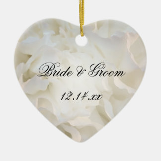 White Carnation Floral Wedding Christmas Ornament