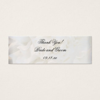 White Carnation Floral Wedding Favor Tags Mini Business Card