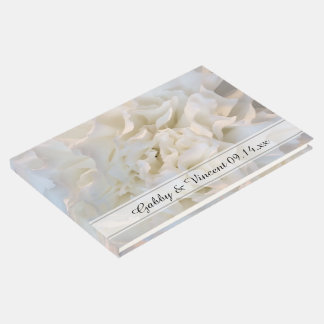 White Carnation Floral Wedding Guest Book