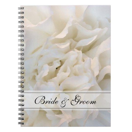 White Carnation Floral Wedding Notebooks