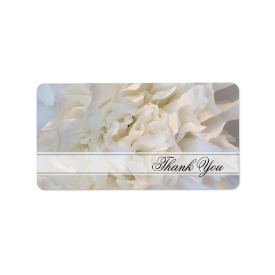 White Carnation Floral Wedding Thank You Favour Address Label