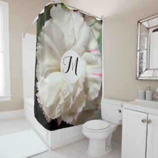 White Carnation Watercolor Fine Floral Shower Curtain