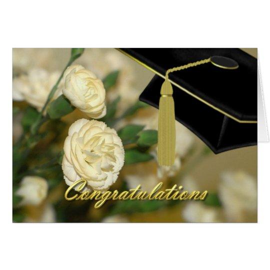 White Carnations Graduation Card