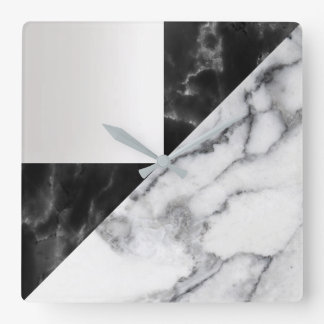 White Carrara Marble Gray Geometry Black Luxury Square Wall Clock