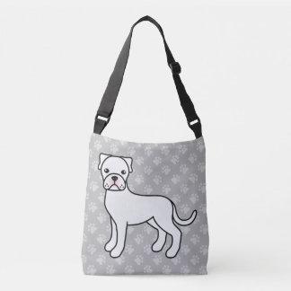 White Cartoon Boxer Dog Drawing Crossbody Bag